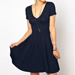 ASOS Navy Button-Down Skater Dress